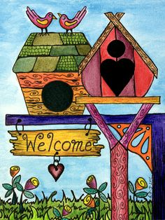 Birds Are Welcome Drawing - Birds Are Welcome Fine Art Print