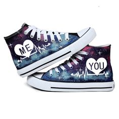 Harajuku Galaxy Glow Me Love Shoes from Cute Kawaii {harajuku fashion} Harajuku Galaxy Glow Me Love Shoes – Thumbnail 2 Cute Sneakers, Converse Sneakers, Sneakers Fashion, Fashion Shoes, Fashion Fashion, Cool Converse, Custom Converse, Custom Shoes, Galaxy Shoes