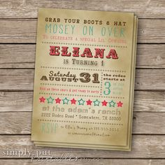 Cowgirl Birthday Invitation  Printable Pink by SimplyPutPrintables, $12.00