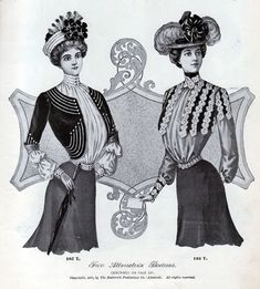 women 1900 | Two Attractive Bodices - Vintage Women's Fashions from 1900