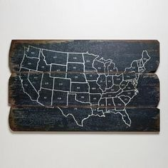 Going to mark the places we visit <3  One of my favorite discoveries at WorldMarket.com: Wood USA Wall Map