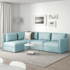 VALLENTUNA Mod sectional, 3 seat w slpr sect, and storage/Hillared light blue. One sofa, lots of possibilities. In need of extra beds, smart storage or a comfy reading corner? Modular Corner Sofa, Modular Sofa, Diy Sofa, Sofa Design, Ikea Vallentuna, Ikea Sofa, Flexible Furniture, Steel Bed, Ikea Family