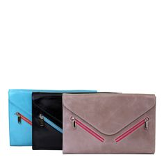 Astoria Edith Clutch in all three colors -- Turquoise, Black, and Dove!