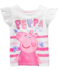 Happy Threads Little Girls' Peppa Pig Striped Graphic Tee