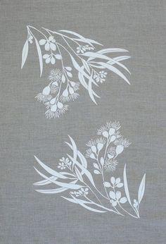 Stencil Fabric, Fabric Painting, Stencils, Motifs Art Nouveau, Screen Printing Press, Australian Flowers, Printed Linen, Stencil Designs, Tree Designs