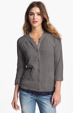 Caslon® Three Quarter Sleeve Knit Bomber Sweatshirt available at #Nordstrom