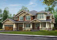 Rustic Wood Craftsman Style Home Design. A bit much for my taste. Probably too big too. But nice idea