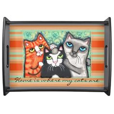 Custom Cat Lover's Cat Art Serving Tray @zazzle