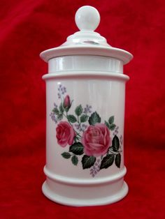 Limoges DAE Jar  with cover  decal roses by QuiltingbyDiamanti on Etsy