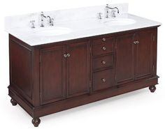 Bella 60-inch Bathroom Vanity (White/Chocolate): Includes a Chocolate Solid Wood Cabinet, Soft Close Drawers, a Marble Countertop, and Two Ceramic Sinks by Kitchen Bath Collection, http://www.amazon.com/gp/product/B004O5HL36/ref=cm_sw_r_pi_alp_GpR.qb06NHXEH