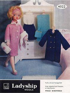 PDF Vintage Sindy Barbie Knitting Pattern  BOUDOIR  Ladyship Barbie Knitting Patterns, Knitting Dolls Clothes, Barbie Clothes Patterns, Crochet Barbie Clothes, Knitted Dolls, Doll Patterns, Clothing Patterns, Doll Clothes, Crochet Patterns