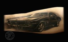 69 Camaro tattoo..I want a 1968 cougar for my dad. Francisco Sanchez is an amazing artist