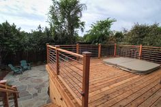 redwood deck with copper | lazar landscape