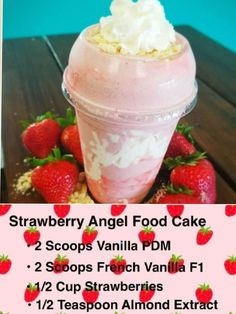 shake to gain muscle workout Healthy meal ideas. Strawberry angel food cake shake shake to gain muscle workout Healthy meal ideas. Herbalife Recipes, Herbalife Nutrition, Herbalife Ingredients, Herbalife Meal Plan, Herbalife Products, Healthy Shakes, Healthy Drinks, Healthy Recipes, Protein Shake Recipes