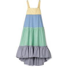 MDS Stripes Tiered gingham cotton-poplin maxi dress (52,265 INR) ❤ liked on Polyvore featuring dresses, blue, multi colored maxi dresses, multicolor maxi dress, maxi dresses, green maxi dress and multi color maxi dress
