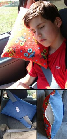 Kids Teens Adults Seatbelt Pillow Road Trip Pillow (Not selling, pinning for idea. Just wing it... Im thinking about buying a cheap pillow, removing some of the stuffing, cover that with a cute pillow case and sew one... talk about an easy sew idea... works for me... Deb)