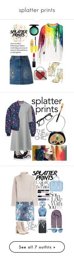 """""""splatter prints"""" by smillafrilla ❤ liked on Polyvore featuring Jerome C. Rousseau, Alice + Olivia, Lisa Perry, Kate Spade, MAC Cosmetics, Maybelline, Moschino, Vans, Uniqlo and Oliver Gal Artist Co."""