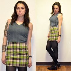 Vintage Plaid Skirt by MerlotMami on Etsy #hipster #softgrunge #90sgrunge #grunge #vintage #fashion #skirt #plaid #miniskirt #green #brown