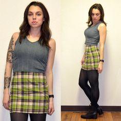 Vintage Plaid Skirt by MerlotMami on Etsy #hipster #softgrunge #90sgrunge #grunge #vintage #fashion #skirt #plaid #miniskirt #green #brown