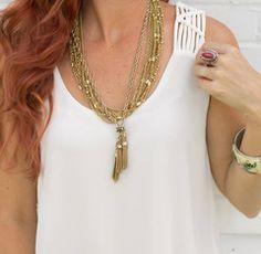 cs gems tassel necklace, multichain necklace vintage jewelry