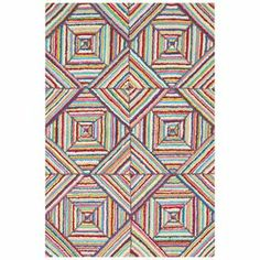 Anchor your living room seating group or define space in the den with this hand-hooked cotton rug, showcasing a multicolor tile motif.
