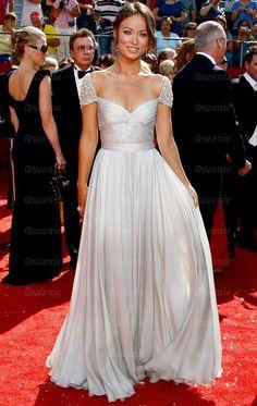 Neues bodenlanges weißes Chiffon Ballkleid Abendkleid LFNAL0401-Queeniekleid.de