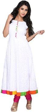 Roposo.com - Latest bordered cotton boat-neck anarkali-kurtis best for summer online iti sleeve less white printed anarkali