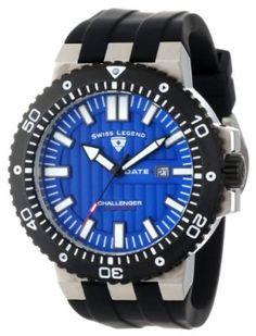 Relógio Swiss Legend Men's 10126-03-BB Challenger Blue Patterned Dial Black Silicone Watch #Relogio #SwissLegend
