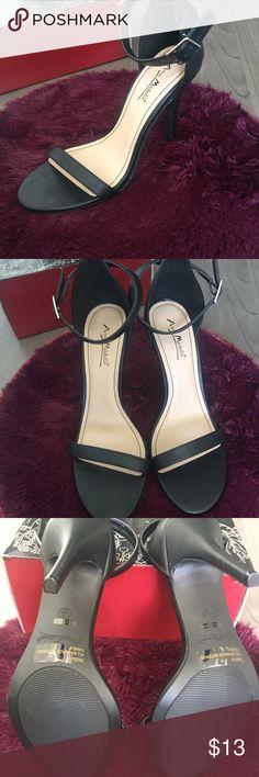 "ANNE MICHELLE ANKLE STRAP SANDAL HEELS Worn just a few times. Anne Michelle Black Ankle Strap Sandal Heel. 4"" wrapped stiletto heel. US Size 9 Anne Michelle Shoes Heels"