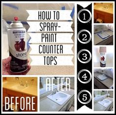 How to Spray Paint Counter Tops Tutorial.  Add a final step:  seal with Minwax polycrylic.