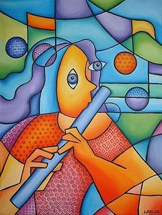Bright Paintings   ... Flute Player - by Lindi Levison from Contemporary Cubism Art Gallery
