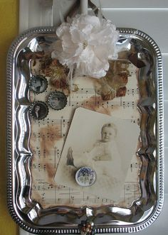 Magnetic Silver Tray Display by sandbeech, via Flickr    Would be great for Halloween...