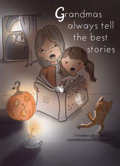 Grandmas Tell The Best Stories Family by RoseHillDesignStudio