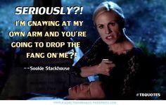 I love how blunt Sookie can be! True Blood season six. True Blood quote.
