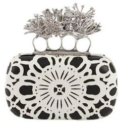 Alexander Mcqueen Crystal Embellished Knuckle Duster in White
