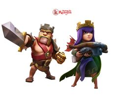 Clash of Clan Barbarian King and Archer Queen