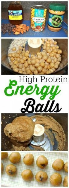 This is a quick and easy healthy snack recipe with NO oil, NO flour, and NO refined sugar! High protein energy balls recipe.  Great snack idea--kids love these.  (Shhh...they are made with chickpeas...)