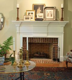 Layered pictures on mantel