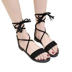 8f20754e6d2 Women Fashion Solid Flock Cross Tied Flat With Rome Shoes Sandals Slipper