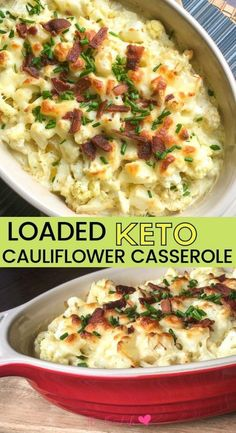 Deliciously cheesy loaded keto cauliflower casserole recipe topped with bacon and chives. Great keto side dish or keto holiday menu plan idea. Keto cauliflower au gratin #ketorecipe #keto #cauliflower
