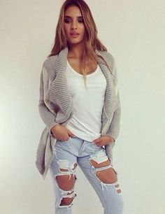 Light Ripped Jeans with White Muscle T and Grey Cardigan