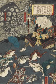 Utagawa Yoshitora (1850-80) 'Nikushi the frog spirit conjures up a magical battle of frogs at Tateyama in Etchu Province'. From the Ashmolean Museum collection.
