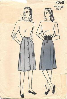 Advance 4068-1940s 6 Gore Skirt with Side Pockets Vintage Sewing Pattern, offered on Etsy by GrandmaMadeWithLove