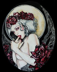 Pin Up girl Tattoo Art lowbrow gothic Art 16 by 20 CANVAS PRINT of Oil Painting of Ghost with flowers Dark art Vampire
