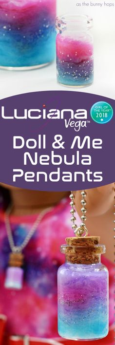 Celebrate Luciana Vega, American Girl's Girl of the Year 2018, by making a set of doll and me nebula pendants! This easy DIY is a totally kid-friendly craft! It's also makes a great science themed activity!