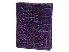 Leather credit card holder in crocodile print violet