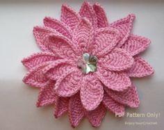 "Flower Pattern, Crochet Floral Pattern, Flower ""Aster"" 3d, Hat Accessories for Baby Hat, Headband, Summer flower, PDF Tutorial Pattern"