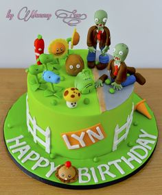 plants vs zombies birthday cake toppers Birthday Cake