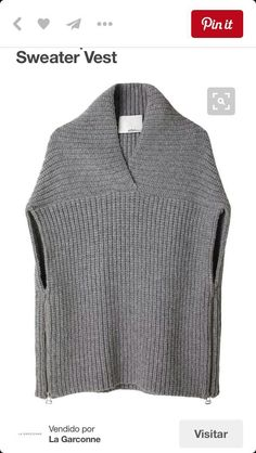 Phillip Lim Shawl Sweater Vest, like the details. Diy Tricot Crochet, Loom Knitting, Knitting Machine, Crochet Clothes, Pulls, Knitwear, Knitting Patterns, My Style, Sweaters