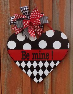 Be Mine Valentine Door Hanger Front Door Decor Valentine Decoration Home Decor Wooden Door Hanger Heres a large Valentine door hanger thats sure to catch attention! Made of wood that I cut myself, sanded and painted it measures including the bo Valentine Day Wreaths, Valentines Day Decorations, Valentine Day Crafts, Holiday Crafts, Home Crafts, Valentine Ideas, Valentine Flowers, Spring Crafts, Decor Crafts